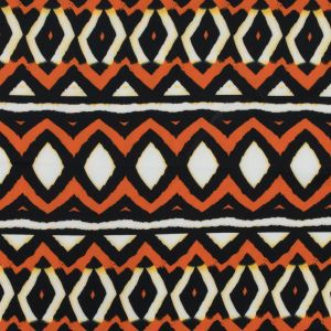 Harvest Pumpkin and Black Geometric Printed Stretch Double Knit