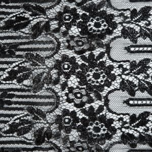 French Metallic Black Striped Floral Lace with Eyelash Edges