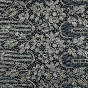 French Aqua Gray and Metallic Silver Striped Floral Lace with Eyelash Edges