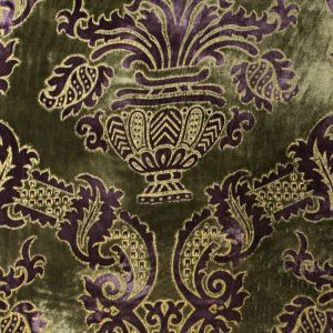 Deep Purple and Olive Branch Large-Scale Damask Velvet with Metallic Gold Foil