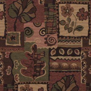 Mahogany Brown and Cedar Green Patchwork Nature Inspired Upholstery Woven