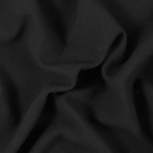 Black Creped Stretch Wool Double Cloth