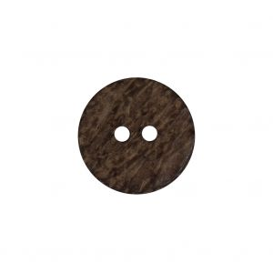 Brown Wooden Two-Hole Button - 28L/17.5mm