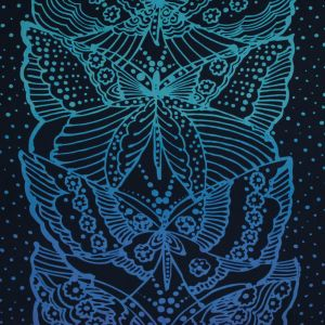 Navy Peony Ombre Butterfly Printed Silk Chiffon Panel