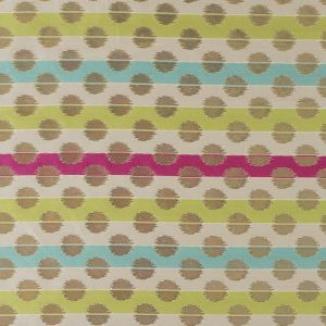 Aqua Sky, Lilac Rose and Green Glow Polka Dotted and Striped Brocade
