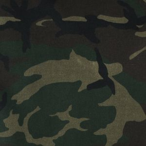 Olive Woodland Camo Printed Waxed Cotton Woven