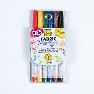 Tulip Fine Tip Primary Color Fabric Markers - 6-Pack