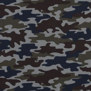 Waxy Camouflage Printed Stretch Polyester Shirting