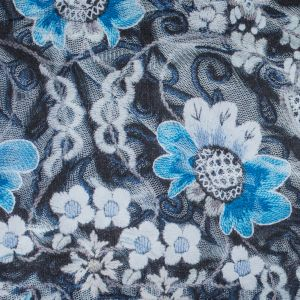 Italian Blue Floral Digitally Printed Polyester Charmeuse