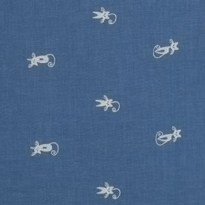 Blue Cat Embroidered Cotton Chambray