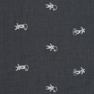 Black Cat Embroidered Cotton Chambray