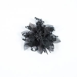 Black Organza and Lace Flower Pin - 4 x 4