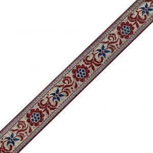 Metallic Gold and Red Floral Jacquard Ribbon - 1.5
