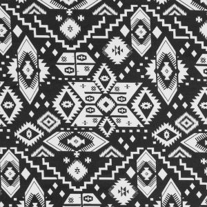 Black and White Tribal Printed Polyester Jersey
