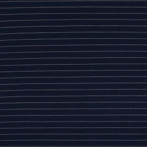 Navy and White Pinstriped Knitted Mini Ottoman