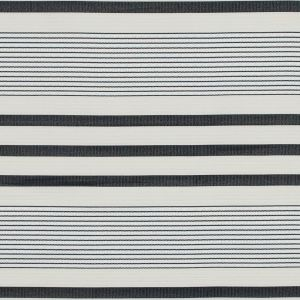 Oyster Gray and Black Striped Polyester and Cotton Ottoman
