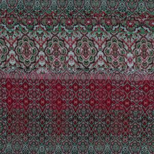 Green and Red Geometric Polyester Georgette