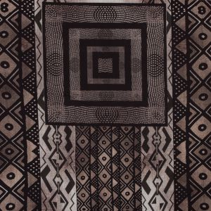 Brown and Black Geometric Printed Polyester Panel