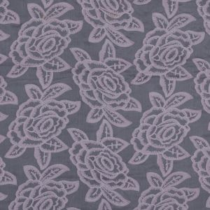 Italian Orchid Floral Embroidered Silk Chiffon
