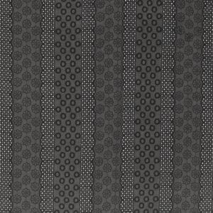 Black Geometric and Floral Striped Embroidered Cotton Eyelet