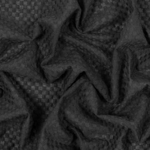 Black Geometric Embroidered Cotton Voile