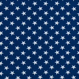 White Stars a on Limoges Blue Cotton Jersey