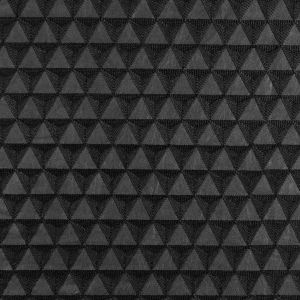 Black Geometric Embroidered Faux Leather