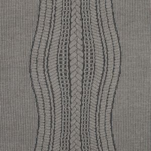 Beige and Black Novelty Virgin Wool Knit with Chunky Knit Design
