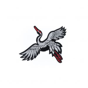 Italian Black, White and Red Sequin Phoenix Patch - 8 x 7