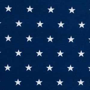 Blue and White Star Printed Cotton Fleece