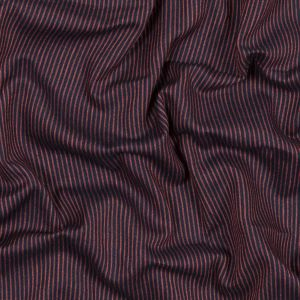 Red and Navy Striped Cotton Double Cloth