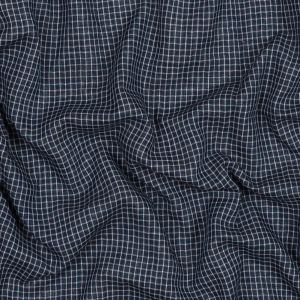 Navy and White Checkered Cotton Double Cloth