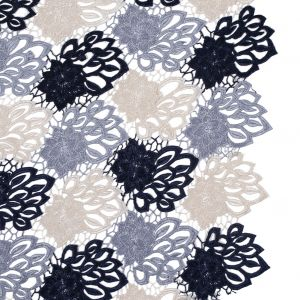 Navy, Gray and Ivory Floral Tri-Color Guipure Lace