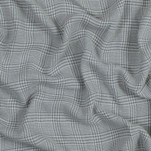 White and Brown Plaid Cotton Crepe