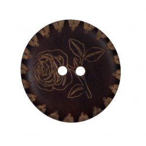 Natural Floral Etched Wood Button - 44L/28mm