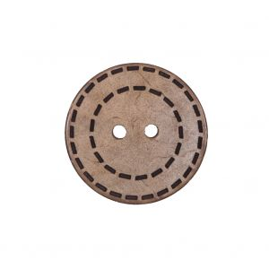 Italian Brown Etched Coconut Button - 36L/23mm