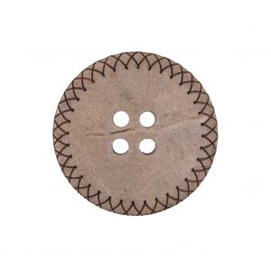Italian Brown Etched Coconut Button - 40L/25.5mm