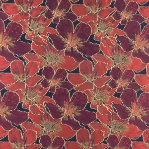 Sun-Dried Tomato, Navy and Metallic Gold Floral Jacquard