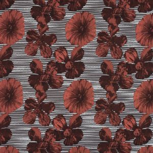 Coral and White Striped Floral Brocade