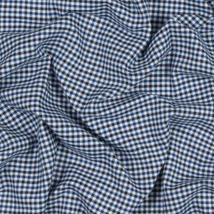 Blue, White and Navy Tattersall Shepherd's Check Cotton and Tencel Flannel