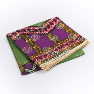 Purple and Green Waxed Cotton African Print with Inlaid Pattern and Metallic Ombre Spiral Foil