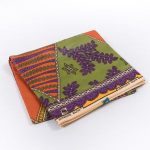 Orange, Purple and Green Waxed Cotton African Print with additional Inlaid Pattern