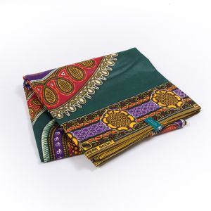 Green and Red Waxed Cotton African Print with additional Inlaid Pattern