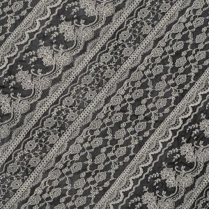 Black and Off-White Floral Mesh
