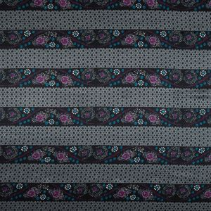 Gray and Purple Floral and Geometric Striped Silk Charmeuse