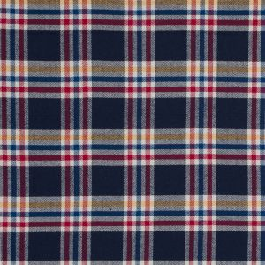 Blue, Red and Yellow Plaid Brushed Cotton Dobby
