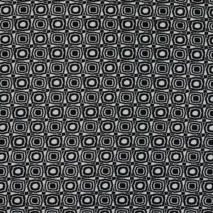 Black and Ivory Geometric Polyester Crepe