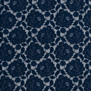 Navy Rosy Re-Embroidered Stretch Crochet Lace