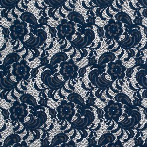 Navy Floral Re-Embroidered Stretch Crochet Lace