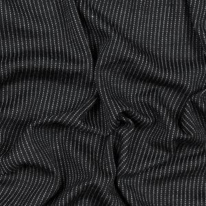 Black and White Broken Pinstriped Wool Double Knit